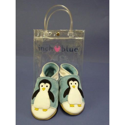 Inch Blue Leren Baby Slofjes Pinguin