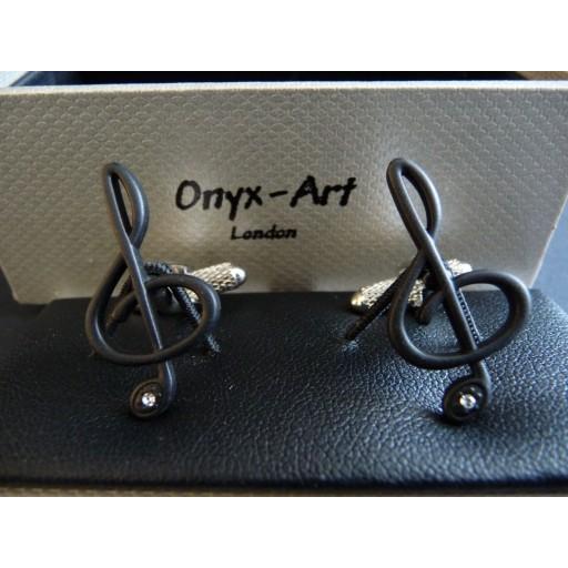 Manchetknopen  G-Muzieksleutel Zwart met Kristal
