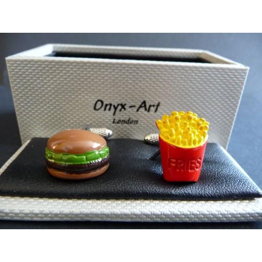 Manchetknopen  Hamburger met Friet