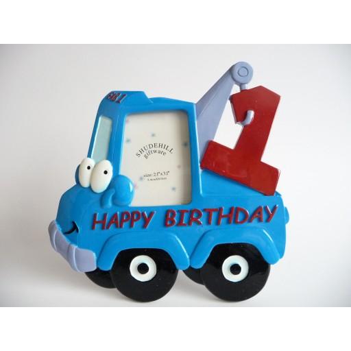 3D Fotolijst Takelwagen Happy Birthday / Hartelijk Gefeliciteerd - 1 jaar