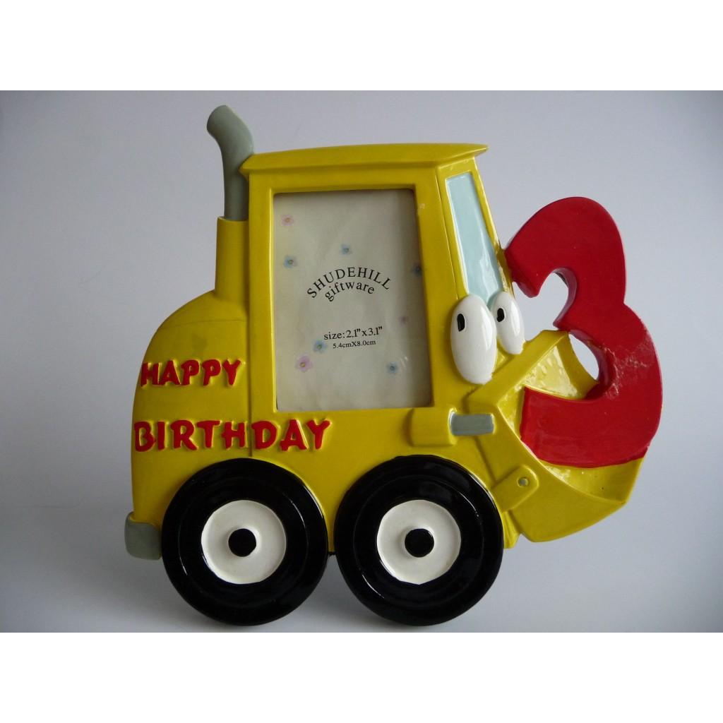 gefeliciteerd 3 jaar Leuk kado en zo | 3D Fotolijst Bulldozer Happy Birthday  gefeliciteerd 3 jaar